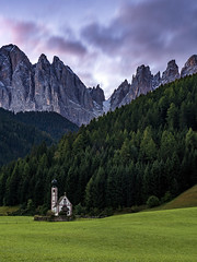 Dolomites Church (JH Images.co.uk) Tags: dolomites sangiovanni italy mountains trees grass green northanitaly church hdr dri landscape tree mountainrange clouds morning funes