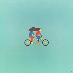 tandem (woodcum) Tags: collage digital tandem bike couple romantic cute beauty tender wavinghair hair riding retro grain vintage surrealism minimalism woodcum minimalistic gif animation animated gifanimation motiondesign