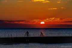 Tramonto in bici / Sunset on a bike (Eugenio GV Costa) Tags: approvato sunset sea cielo sky mare cloud cloudy sole outside bici biciclette bike