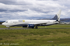N758MA Boeing 737-800 Miami Air Glasgow airport EGPF 29.09-19 (rjonsen) Tags: plane airplane aircraft aviation airliner taxying airside clouds