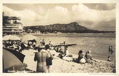 Waikiki Beach Diamond Head 1930s (Kamaaina56) Tags: 1930s waikiki hawaii beach deans realphoto