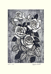 Rose (Japanese Flower and Bird Art) Tags: flower rose rosa rosaceae suiho tagawa modern intaglio print japan japanese art readercollection
