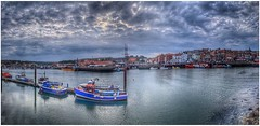 Moored (Andy Stones) Tags: whitby bay harbour boats sea seaside water town clouds cloud sky skywatching overcast weather weatherwatch image imageof imagecapture photography photoof yorkshire nyorks colour colourful houses urban