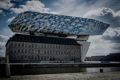Antwerp Porthouse, Harborhouse (vale0065) Tags: blauw blue zahahadid antwerpen antwerp modern architectuur architecture harbor port haven design havenhuis belgium belgië scheldt schelde clouds wolken lucht sky suezdok suezdock zahahadidplein mexicostraat