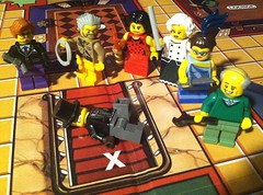 Whodunit (Gallisuchus (Clayface)) Tags: lego custom clue murder mystery board game characters pieces minifigures mister boddy missus white colonel mustard miss scarlett green peacock professor plum