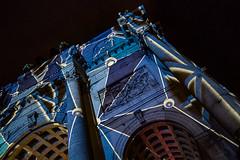 a blue one (genelabo) Tags: streetlife festival münchen munich strasenfest green sony 6300 city night nacht pusteblume light lights licht people pani projection dia slide projektion stripes streifen square quadrat building architecture blue blau projektor projector bp