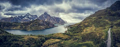 Bostad aerial panorama (Wim van de Meerendonk, loving nature) Tags: böstad norway lofoten mountainscape clouds cloud fjord landscape mountain nature outdoors outdoor panorama rock rocks sky scenic snow valley wimvandem water grass mountainside ustad djimavicpro abigfave astoundingimage