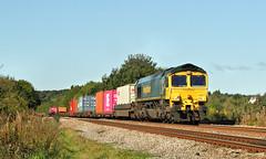 Multi-Coloured 'liner At Hare Park. (Neil Harvey 156) Tags: railway 66511 hareparkline walton wakefield freightlinertrain class66 freightliner fred