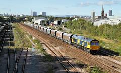 Huddersfield Town In South Leeds. (Neil Harvey 156) Tags: railway 66738 huddersfieldtown pepperroad midlandroad balmroad hunslet leeds stonetrain arcowstone 6m37 class66 gbrf