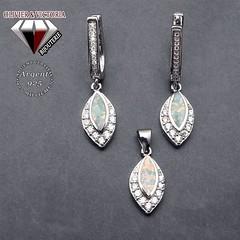 Parure feuille en opale de feu et argent 925 (olivier_victoria) Tags: argent 925 boucles boucle doreille pendentif feuille chaine doreilles opale oreilles de feu