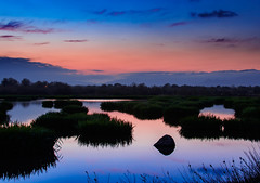 Bicolor reflections (Narcís Macau) Tags: sunset reflection catalonia wetlands orange blue marshes longexposure water ngysa ngysaex