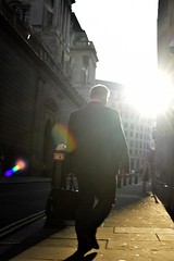 2019-08-22: Walking Into The Sun (psyxjaw) Tags: london londonist city cityoflondon walk sun august man suit case briefcase office worker