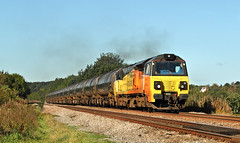 Colas 70 Clag At Hare Park. (Neil Harvey 156) Tags: railway 70809 hareparkline walton wakefield prestondockstanks prestontanks bitumentanks 6e32 class70 colasrail colas