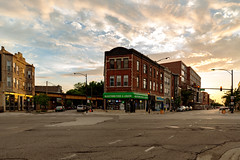 Chicago Plate 281 (Thresher Photo) Tags: chicago logansquare bucktown bucktownfoodandliquor sunset landscape urban cityscape buildings