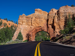 red arch road tunnel on the way to Bryce (kleiner_eisbaer_75) Tags: route 12 scenic byway utah usa bryce rot red stone stein tunnel arch bogen road natur nature