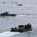 Assault amphibious vehicles transit the Celebes Sea after departing the amphibious transport dock ship USS Green Bay