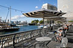 Relaxing by the marina (ho_hokus) Tags: 2019 fujix20 fujifilmx20 manhattan nyc newyorkcity northcovemarina boat marina parasols seats