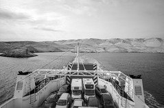 Approaching Pag Island, Croatia. (wojszyca) Tags: contax g2 zeiss biogon 21mm adox cms 20 adotech ferry sea island pag croatia landscape travel
