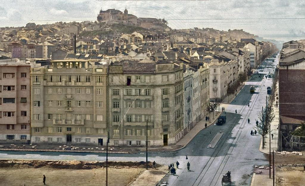 Avenida Almirante Reis, Lisboa, c. 1940. Fototipia animada do original da Casa fotográfica de Garcia Nunes, in archivo photographico da C.M.L.