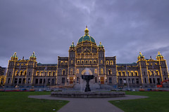 BC Legislature (kevin.boyd) Tags: bc legislature parliament victoria canada bokeh blurry dark sky cloud water fountain