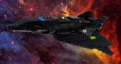 The Raven Star (EliteGuard01) Tags: lego legodigitaldesigner ldd scify sciencefiction space spaceship crimsonstar dragoneyemunitions testbed experimental stealth cruiser restomod restored moc collaboration cloakingdevice exoforce