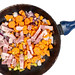 Carrot Paprika and Bacon in the frying pan