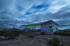 The Fuel Retreat (Nocturnal Kansas) Tags: night nocturnal moon full led1 protomachines d800 nikon california 66 route desert gas station fuel longexposure nightphotography lightpainting