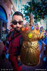 Thanos is #1! (Sam Antonio Photography) Tags: marvelcomics supervillain mcu comiccon comicconinternational sandiegocomiccon costume cosplay cosplayer marvel avengers marvelcinematicuniverse avengersendgame glove infinitystones gauntlet thanos finger glasses man male