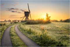 Sunrise with a little bit of fog at Broekmolen (Rob Schop) Tags: goodmorning morning sunrise windmill broekmolen fog streefkerk oudalblas zuidholland sun backlit bracket sigma30mm14 leadinglines sonya6000 lrcc goldenhour