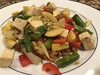 Asparagus, yellow squash, red pepper, onion, tofu over red rice & beans (TomChatt) Tags: food homecooking parttimevegetarian