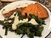 Broiled Atlantic salmon and broccolini in mustard Monterrey Jack Mornay sauce, baked garnet yam (TomChatt) Tags: food homecooking