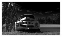 ...minimum of clues... (VanveenJF) Tags: westlock area alberta farmer international 1950 car pickup truck canada bw vanveenjf