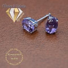 Boucles d'oreilles améthyste ovales en argent 925 (olivier_victoria) Tags: argent 925 oreille boucle doreille violet améthyste boucles doreilles ovale pourpre