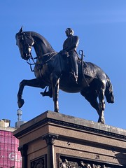Horse meets tower (markshephard800) Tags: princealbert sculpture black pink blue scotland glasgow horse marochetti