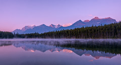 Sunrise at Herbert Lake (Bob C Images) Tags: sunrise reflections water lake trees canada herbertlake alberta landscapes