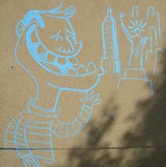 Greeting Liberty (wwimble) Tags: cartooncrossroads 2019 columbus ohio mainlibrary chalkslam statueofliberty empirestatebuilding chalk drawing