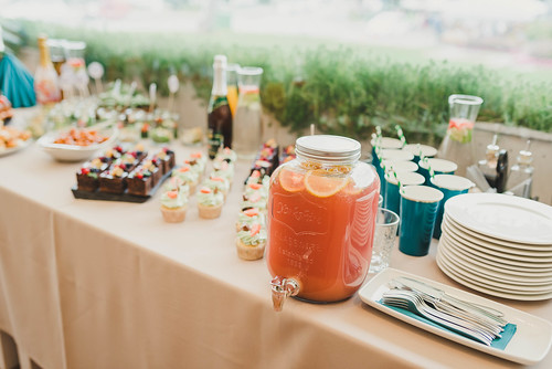 Snacks And Drinks On The Banquet Table