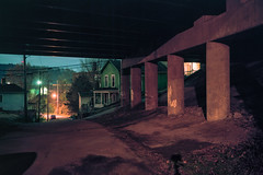 (patrickjoust) Tags: fujica gw690 kodak portra 160 6x9 medium format 120 rangefinder 90mm f35 fujinon lens cable release tripod long exposure night after dark manual focus analog mechanical patrick joust patrickjoust usa us united states north america estados unidos town steel ohio oh mingo junction overpass viaduct bridge green house home road small river