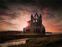 Gothic Sunset (MixPix ) Tags: sunset whitby abbey northyorkshire uk sky sunsets sun contrajour church ruin derelict gothic