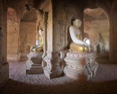 Panorama of Ancient Temple Interior with the Seated Buddhas in Bagan, Myanmar (ansharphoto) Tags: aged ancient antique arch architecture art asia asian attraction bagan buddha buddhism buddhist building burma burmese culture daylight decoration gold heritage historic historical history inside interior landmark meditation myanmar old pagoda religion religious ruin sacred sculpture shrine site sitting southeast spirituality statue stone temple tourism traditional travel view wall worship