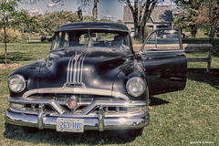 Pontiac (gabi-h) Tags: pontiac car vintage milfordfallfair gabih princeedwardcounty blackcar headlights grille grass trees opendoor
