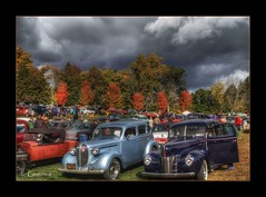 Autumnal Arrangement (* Gemini-6 * (on&off)) Tags: hdr framed ford plymouth autumn carshow automobile vehicle transportation trees clouds sky chrome