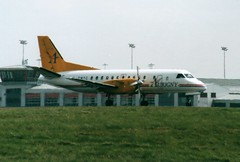 G-GNTC (IndiaEcho) Tags: ggntc aurigny saab 340 sf340 egss stn london stansted airport airfield essex england