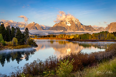 Dawn At Oxbow Bend (Mimi Ditchie) Tags: grandtetons grandtetonnationalpark reflection clouds sunrise reflections dawn mountmoran oxbowbend river snakeriver thegrandtetons wyoming getty gettyimages mimiditchie mimiditchiephotography