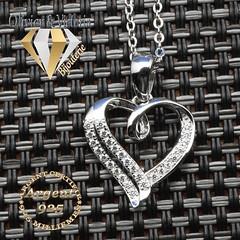 Collection Pégasi - Pendentif double cœur brillant en argent (olivier_victoria) Tags: argent 925 pendentif zircon coeur chaine brillant double pegasi collection pégasi