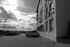 in front of the mountain hotel (mgheiss) Tags: schwarzweis bw monochrom schliffkopf scenic renault canong1xmark2 blackandwhite october oktober herbst autumn schwarzwald blackforest hotel berghotel mountainhotel