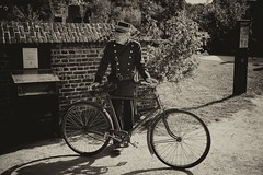 010 (boeddhaken) Tags: backintime timetravel 1900 1900s blackwhite bw retro retrostyle museum police cop bike