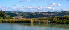 _IMG0135_panorama (polipao) Tags: montefeltro marche ilobsterit colline hills campi fields cielo nuvole clouds sky alberi trees woods laghetto pond riflessi reflexions fotopanoramica panoramicphoto panoramica landscape paesaggio panorama