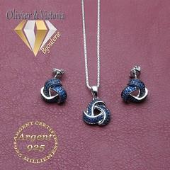 Parure spinelle bleu 3 noeuds en argent 925 (olivier_victoria) Tags: parure argent 925 boucles oreille boucle doreille pendentif bleu spinelle noir chaine noeud