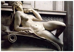 The statue of dawn from qkarmes (elligerra) Tags: italy woman white statue florence tomb lorenzo sanlorenzo marble medici michelangelobuonarroti lorenzomedici thestatueofdawn tomboflorenzomedici nude postcard postcrossing